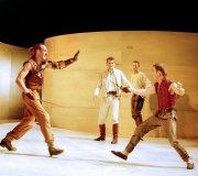 <span class=gallery-multiple>Verona's simmering tensions erupt again when Tybalt, a Capulet, tries to pick a quarrel with Romeo. When the newly married Romeo refuses to fight, his friend Mercutio takes up Tybalt's challenge, only to be fatally wounded.|Romeo (centre, in white) looks on powerlessly as Mercutio and Tybalt fight. How has this actor portrayed Romeo's helpless anguish? Why should Romeo be anxious about the outcome of the fight, whoever wins?|Donald Cooper/Photostage</span>