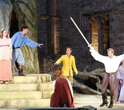 <span class=gallery-multiple>Duke Theseus and Queen Hippolyta (right) are to be married. Egeus (front centre in hat) demands that his daughter Hermia (left) be forced to marry Demetrius (in yellow jacket) or be put to death according to the law. But Hermia will only marry Lysander (in blue shirt). | What kind of world does this court of Athens seem to be, and what kind of ruler is Duke Theseus (right)? Judging by this opening scene, what do you think the rest of the play will be about? | © Donald Cooper/Photostage</span>