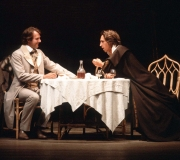 <span class=gallery-multiple>Antonio (left), the merchant of Venice, agrees to lend money to help his friend Bassanio (right) to court a beautiful, rich lady, Portia. But Antonio doesn't have enough money readily available and will need to negotiate a loan from a money-lender. | Study the image carefully, then annotate it with your thoughts about the kind of lifestyle these two men seem to share and the initial impressions of life in Venice that have been created in this production. | Royal Shakespeare Company, 1981 (Act 1 Scene 1)</span>