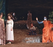 <span class=gallery-multiple>The god Hymen enters with Rosalind and Celia (dressed as their usual selves) and marries the play's four couples. | Is this how you imagined that Hymen would be portrayed? If you were staging the play, would you present this scene differently? | Donald Cooper / Photostage</span>