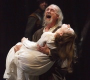 <span class=gallery-multiple>Grieving loudly, Lear enters bearing the corpse of his daughter Cordelia. | Look at the language of the play here. Do you think Lear is lucid at this point? What evidence is there for or against his sanity? | Donald Cooper / Photostage</span>