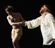 <span class=gallery-multiple>Edgar pretends to lead his father, the blinded Gloucester, to a cliff to commit suicide from. | The false suicide is often criticised as one of the play's more farfetched scenes. Do you think it would have seemed farfetched for its original audiences? | Donald Cooper / Photostage</span>